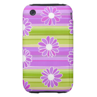 Green and purple flowers with stripes tough iPhone 3 case