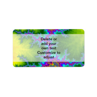 Green and purple fractal pattern label