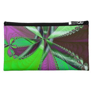 Green and purple fractal pattern makeup bag