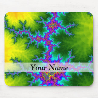 Green and purple fractal pattern mouse pad