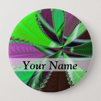 Green and purple fractal pattern pinback button