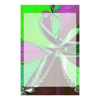 Green and purple fractal pattern stationery