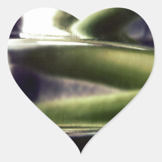 green and purple glass heart sticker