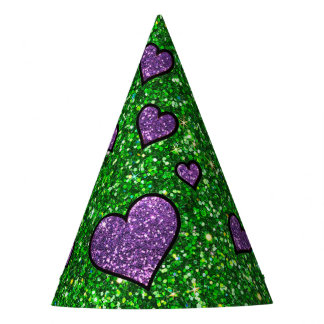 Green and Purple Glitter Party Hat