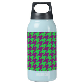 GREEN AND PURPLE HOUNDSTOOTH PATTERN INSULATED WATER BOTTLE