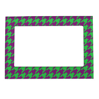 GREEN AND PURPLE HOUNDSTOOTH PATTERN MAGNETIC FRAME