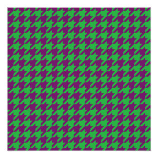 GREEN AND PURPLE HOUNDSTOOTH PATTERN POSTER