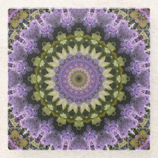 Green and Purple Lilac Mandala Kaleidoscope Glass Coaster