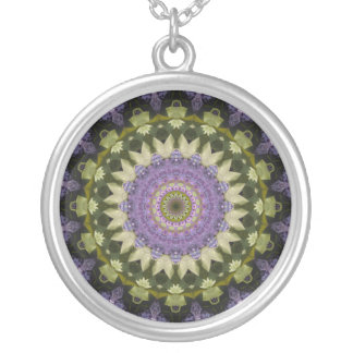 Green and Purple Lilac Mandala Silver Plated Necklace