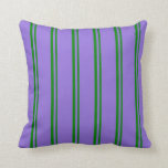 [ Thumbnail: Green and Purple Lines Pattern Throw Pillow ]