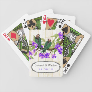 Green and Purple Love Bird Wedding Playing Card
