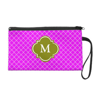 Green and Purple Mongoram Wristlet Gift for Her