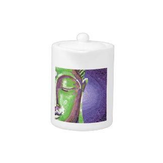 Green and Purple Mosaic Buddha Face