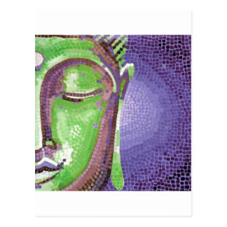 Green and Purple Mosaic Buddha Face Postcard