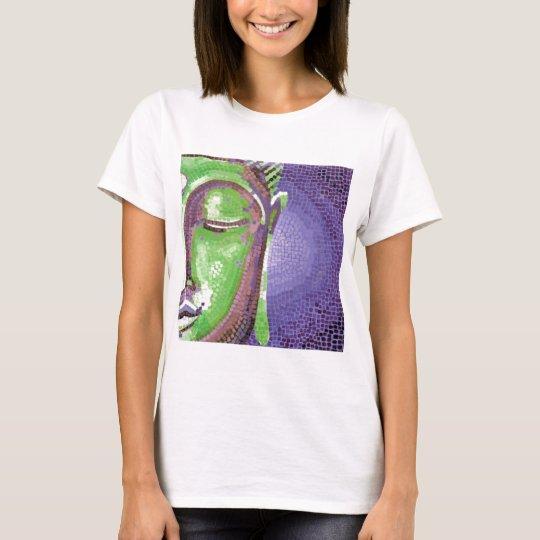 Green and Purple Mosaic Buddha Face T-Shirt