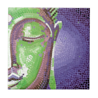 Green and Purple Mosaic Buddha Face Small Square Tile