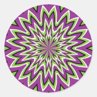 Green and purple optical illusion classic round sticker
