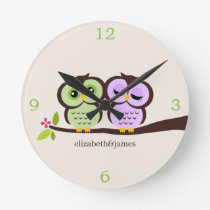 Green and Purple Owl Couple Round Clock