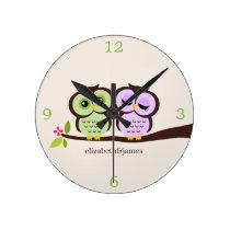 Green and Purple Owl Couple Round Wallclocks