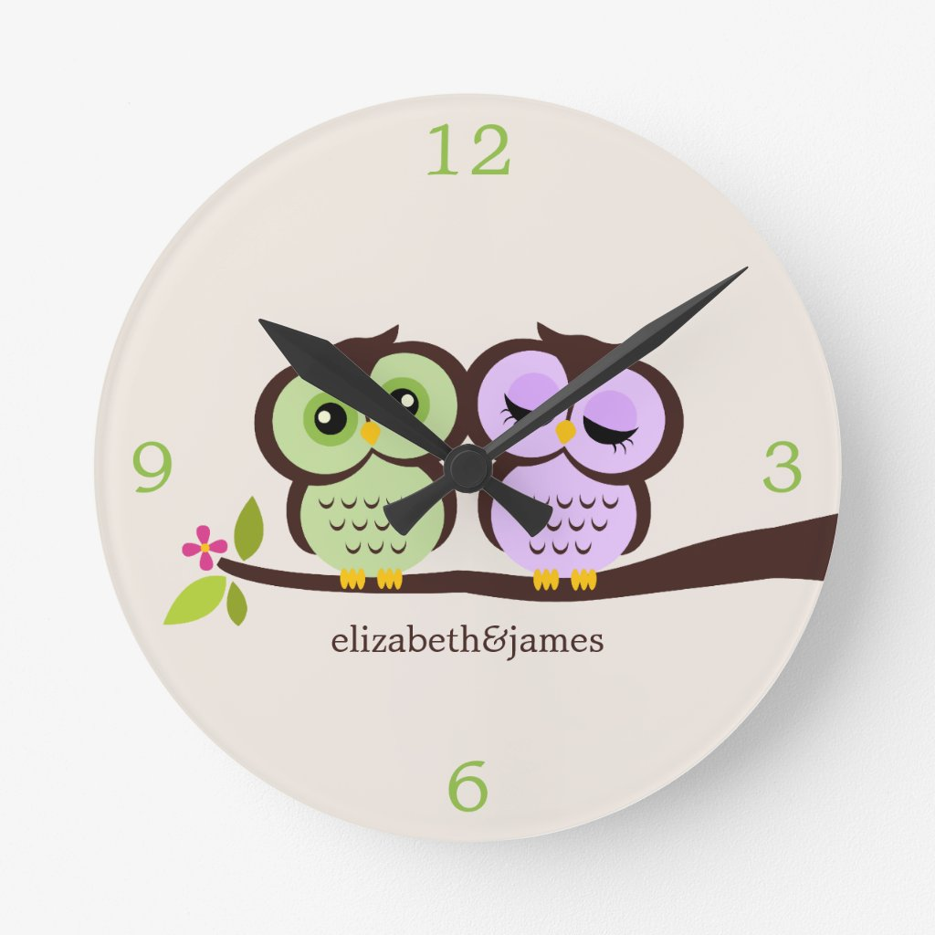 Green and Purple Owl Couple Wall Clock