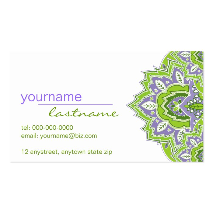 Green and Purple Paisley Profile Card