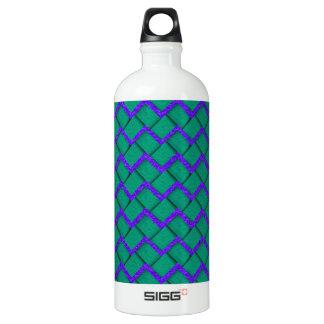 Green and Purple Paper Zig Zag Aluminum Water Bottle