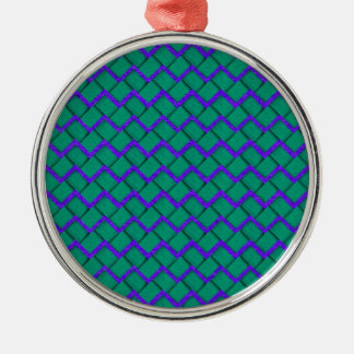 Green and Purple Paper Zig Zag Metal Ornament
