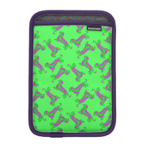 Green and Purple Pattern Dapple Dachshund iPad Mini Sleeve