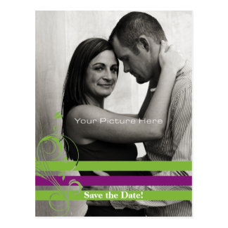 Green and Purple Photo Card Save The Date