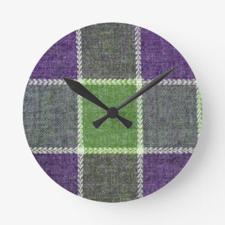 Green and Purple Plaid Wool Fabric Texture Round Clock
