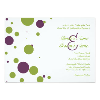 Green and Purple Polka Dot Wedding Invitation