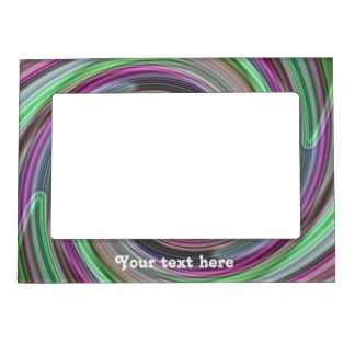 Green and purple pretty swirls to personalize magnetic photo frame