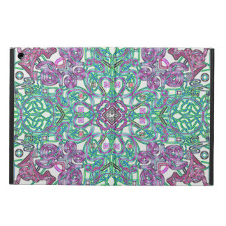Green and purple psychedelic floral iPad Air case