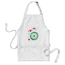 green and purple, red heart adult apron
