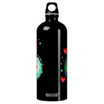 green and purple, red heart aluminum water bottle