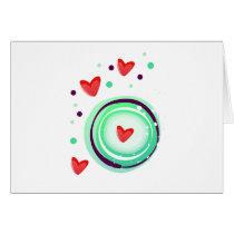 green and purple, red heart card