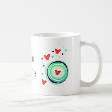 Valentines Themed green and purple, red heart coffee mug