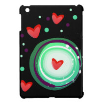 green and purple, red heart cover for the iPad mini