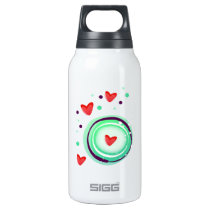 green and purple, red heart insulated water bottle