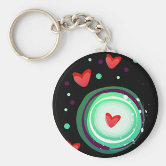 green and purple, red heart keychain