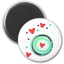 green and purple, red heart magnet