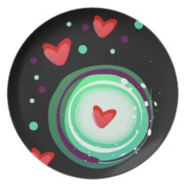 green and purple, red heart melamine plate