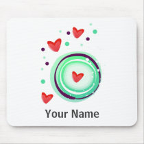 green and purple, red heart mouse pad