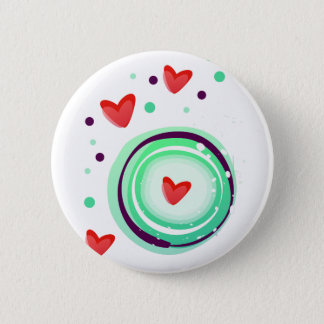 green and purple, red heart pinback button