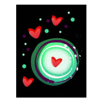 green and purple, red heart postcard