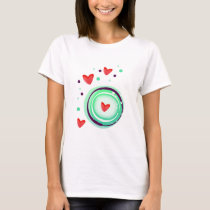 green and purple, red heart T-Shirt