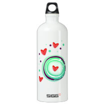 green and purple, red heart water bottle