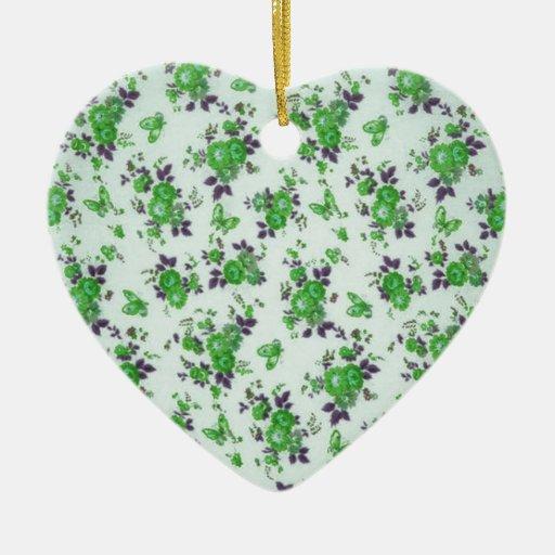 Green and purple retro floral pattern. ceramic ornament