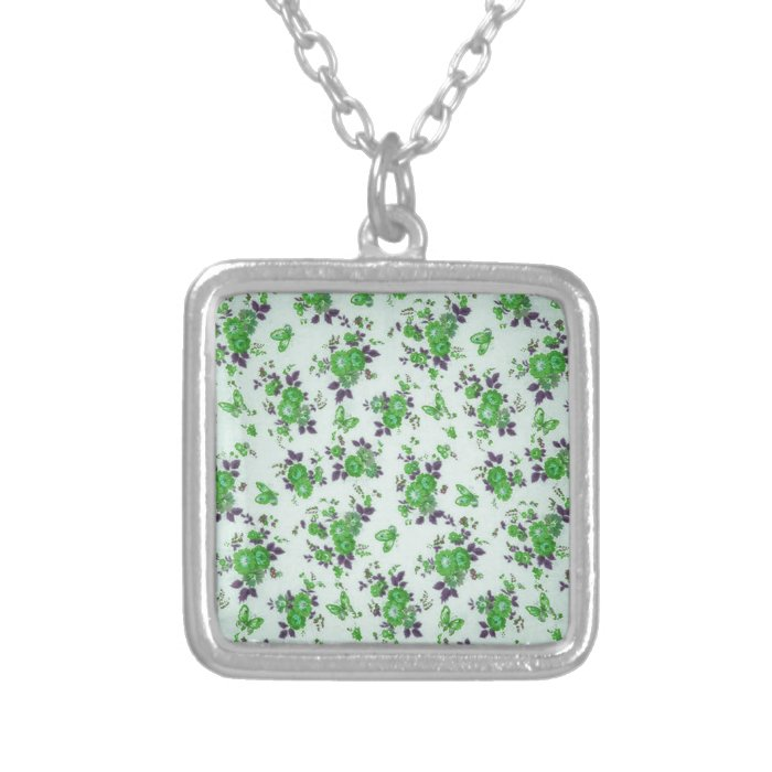 Green and purple retro floral pattern. silver plated necklace