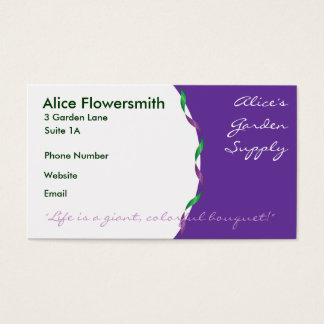 Green and Purple Ribbon Business Cards